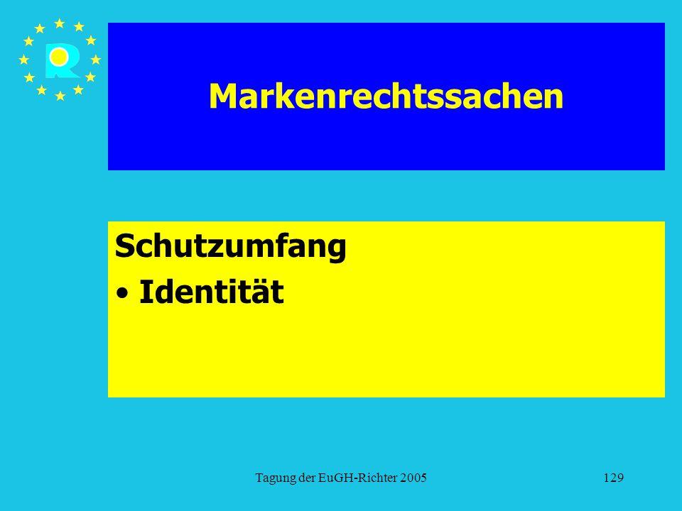 Tagung der EuGH-Richter 2005129 Markenrechtssachen Schutzumfang Identität
