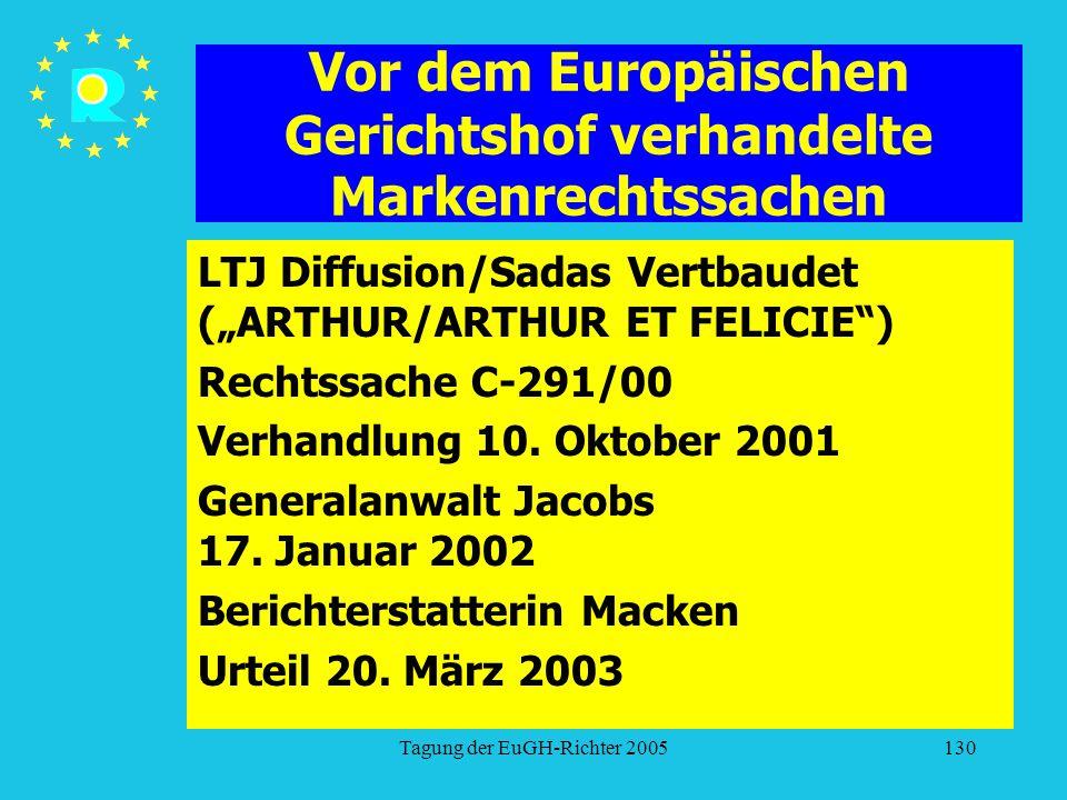 """Tagung der EuGH-Richter 2005130 Vor dem Europäischen Gerichtshof verhandelte Markenrechtssachen LTJ Diffusion/Sadas Vertbaudet (""""ARTHUR/ARTHUR ET FELICIE ) Rechtssache C-291/00 Verhandlung 10."""