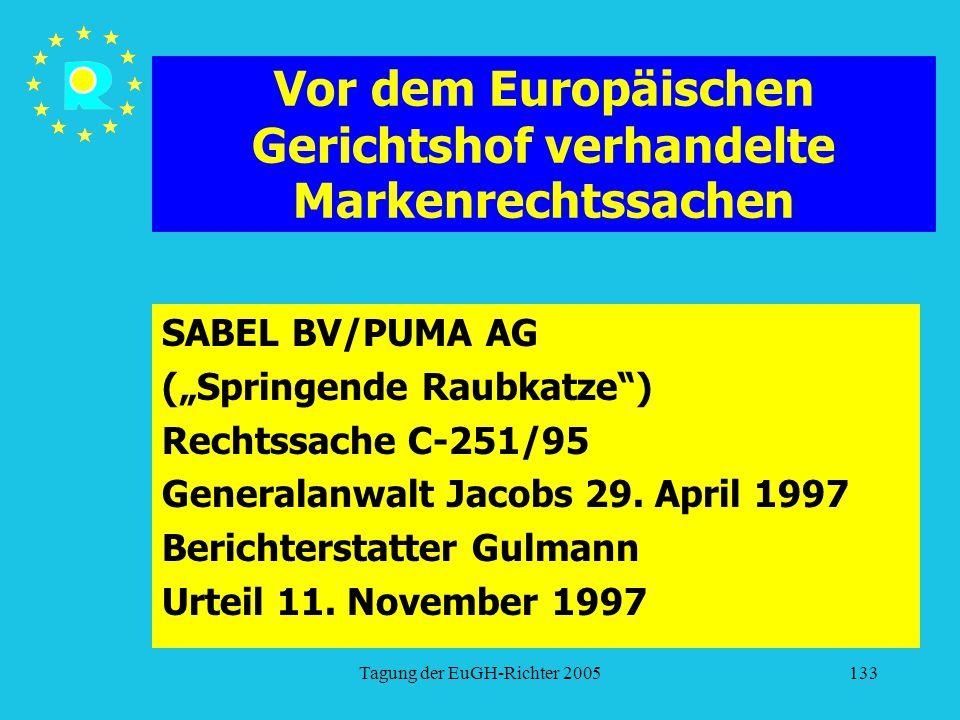 """Tagung der EuGH-Richter 2005133 Vor dem Europäischen Gerichtshof verhandelte Markenrechtssachen SABEL BV/PUMA AG (""""Springende Raubkatze ) Rechtssache C-251/95 Generalanwalt Jacobs 29."""