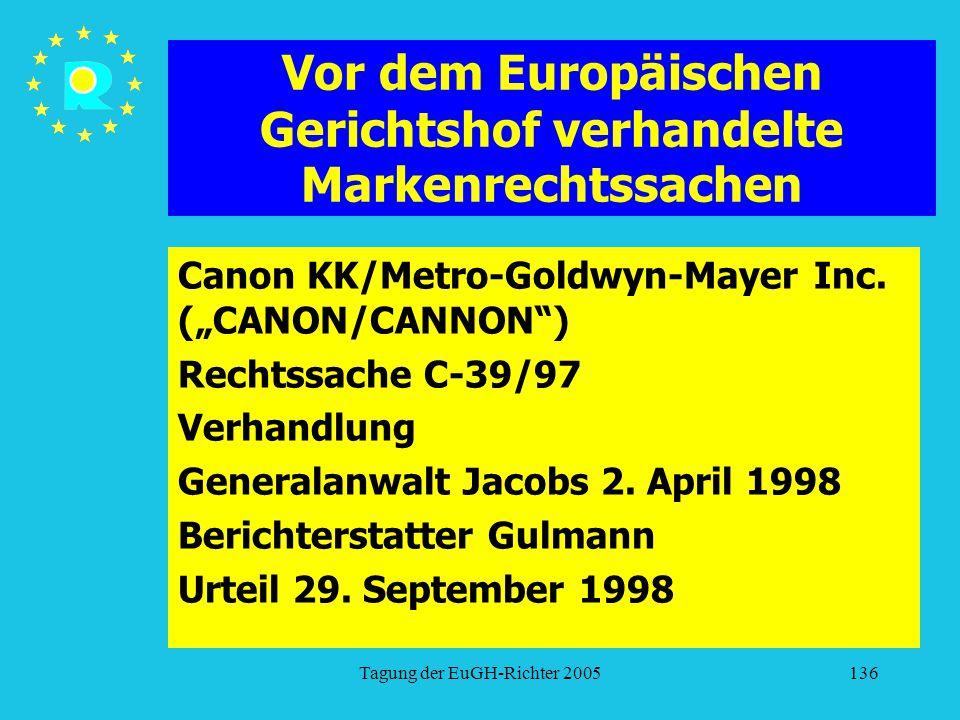 """Tagung der EuGH-Richter 2005136 Vor dem Europäischen Gerichtshof verhandelte Markenrechtssachen Canon KK/Metro-Goldwyn-Mayer Inc. (""""CANON/CANNON"""") Rec"""