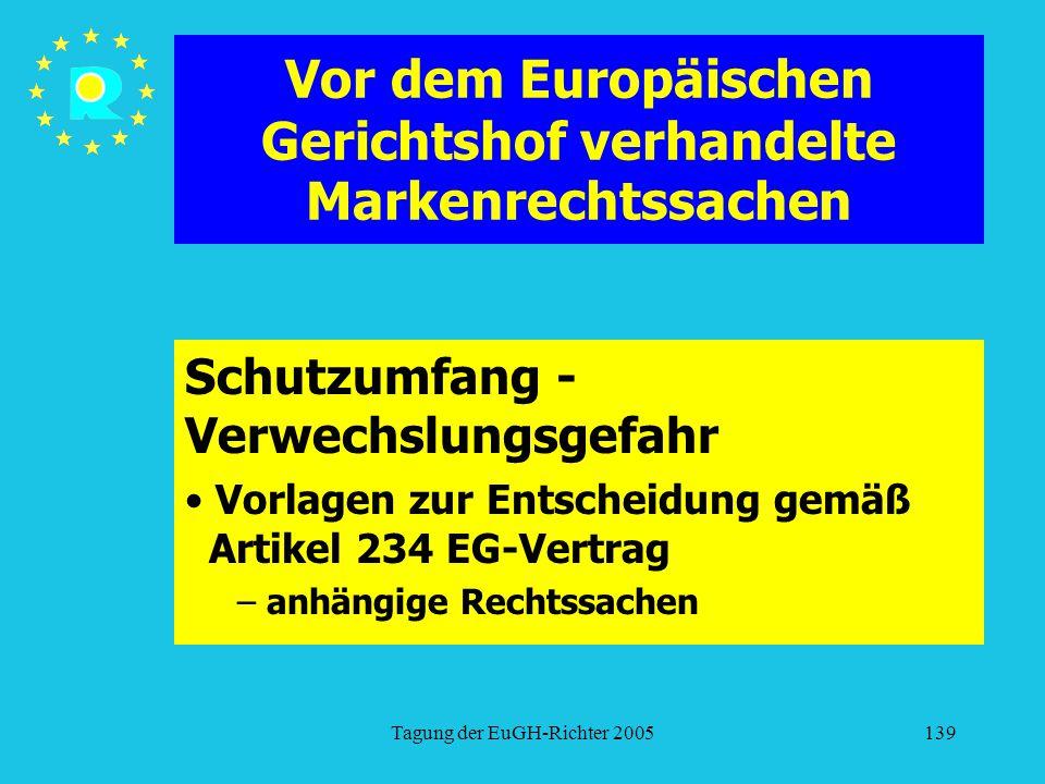 Tagung der EuGH-Richter 2005139 Vor dem Europäischen Gerichtshof verhandelte Markenrechtssachen Schutzumfang - Verwechslungsgefahr Vorlagen zur Entscheidung gemäß Artikel 234 EG-Vertrag – anhängige Rechtssachen