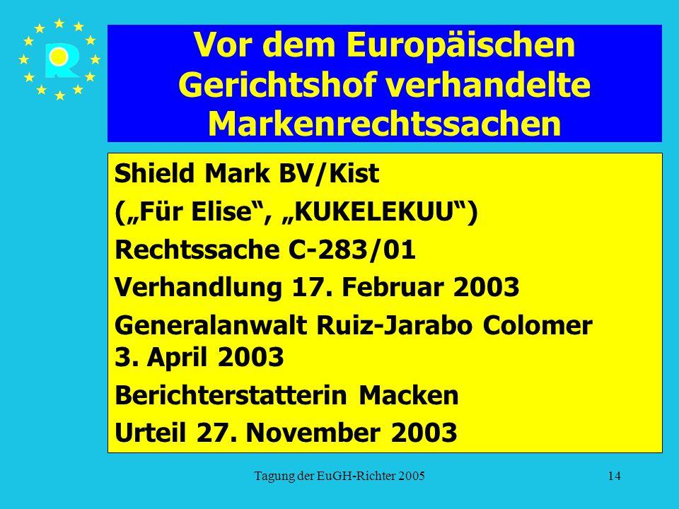 """Tagung der EuGH-Richter 200514 Vor dem Europäischen Gerichtshof verhandelte Markenrechtssachen Shield Mark BV/Kist (""""Für Elise , """"KUKELEKUU ) Rechtssache C-283/01 Verhandlung 17."""
