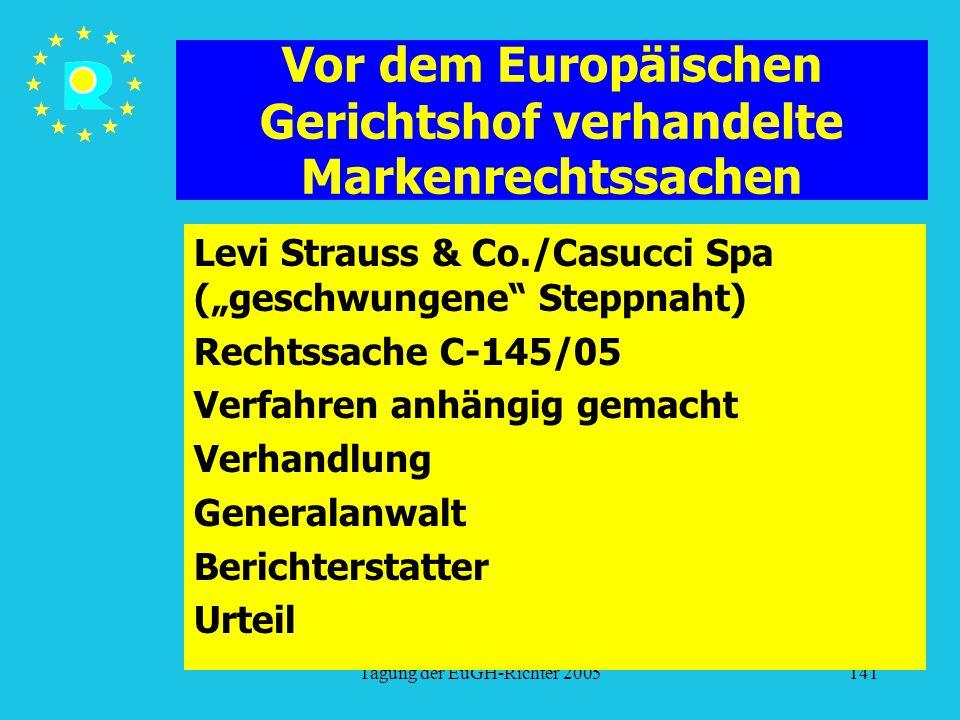 """Tagung der EuGH-Richter 2005141 Vor dem Europäischen Gerichtshof verhandelte Markenrechtssachen Levi Strauss & Co./Casucci Spa (""""geschwungene Steppnaht) Rechtssache C-145/05 Verfahren anhängig gemacht Verhandlung Generalanwalt Berichterstatter Urteil"""