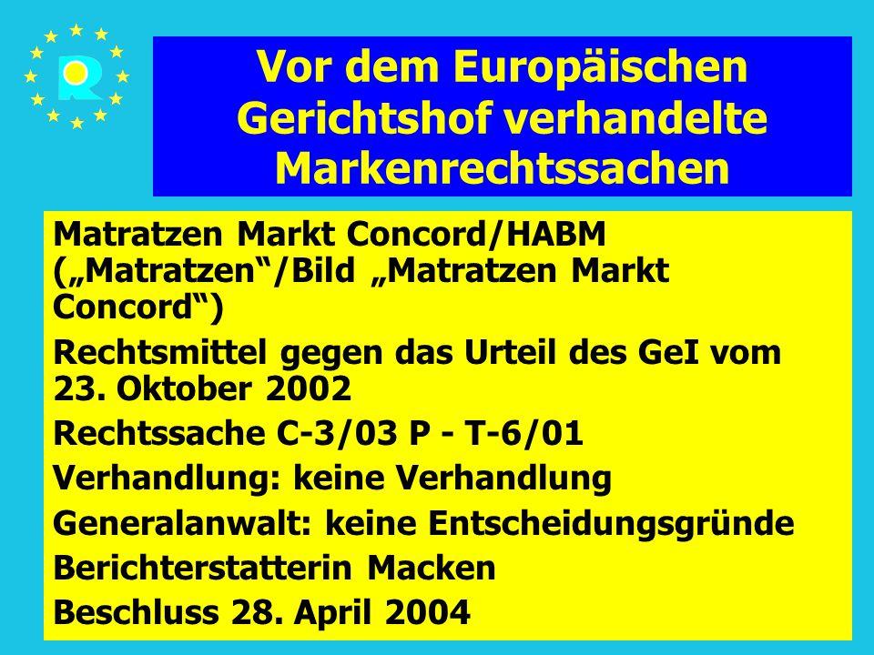 """Tagung der EuGH-Richter 2005143 Vor dem Europäischen Gerichtshof verhandelte Markenrechtssachen Matratzen Markt Concord/HABM (""""Matratzen /Bild """"Matratzen Markt Concord ) Rechtsmittel gegen das Urteil des GeI vom 23."""