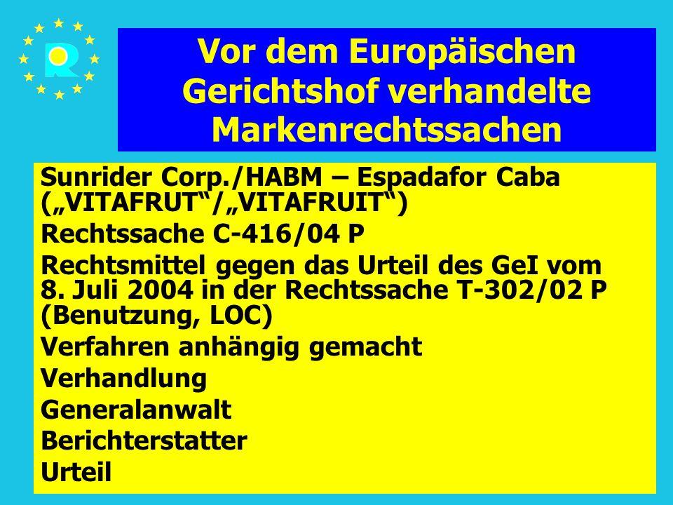 """Tagung der EuGH-Richter 2005152 Vor dem Europäischen Gerichtshof verhandelte Markenrechtssachen Sunrider Corp./HABM – Espadafor Caba (""""VITAFRUT /""""VITAFRUIT ) Rechtssache C-416/04 P Rechtsmittel gegen das Urteil des GeI vom 8."""