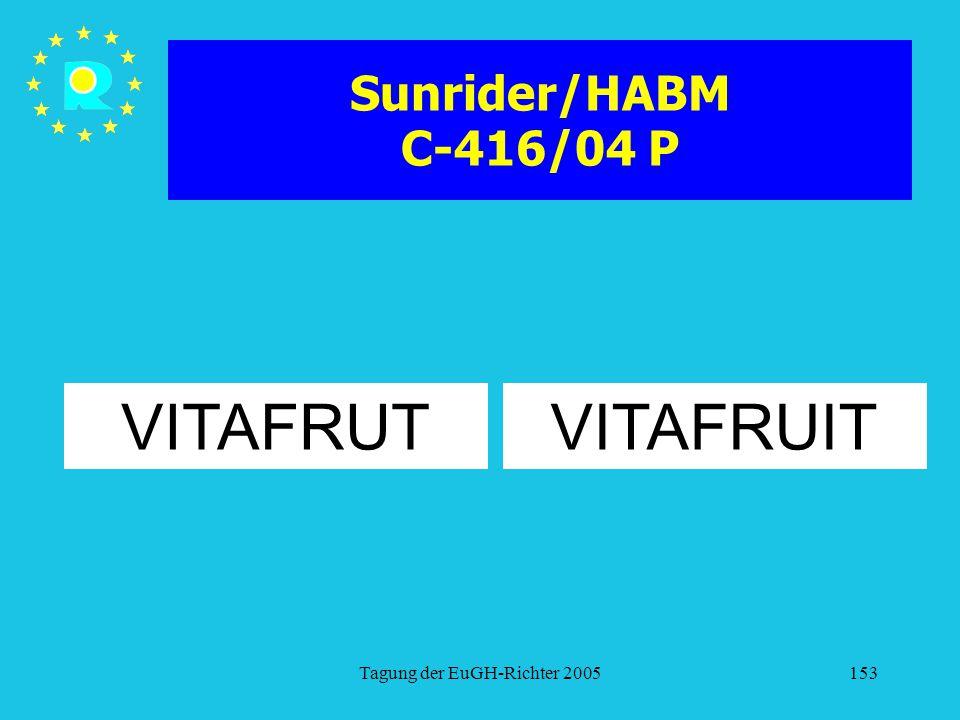 Tagung der EuGH-Richter 2005153 Sunrider/HABM C-416/04 P VITAFRUITVITAFRUT