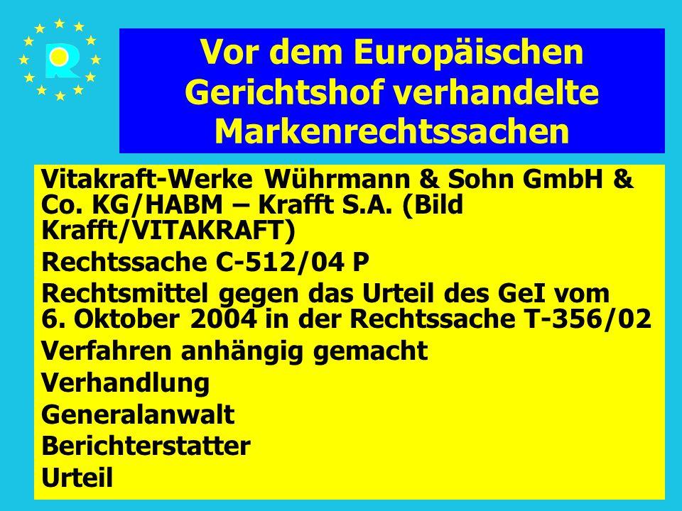 Tagung der EuGH-Richter 2005154 Vor dem Europäischen Gerichtshof verhandelte Markenrechtssachen Vitakraft-Werke Wührmann & Sohn GmbH & Co. KG/HABM – K