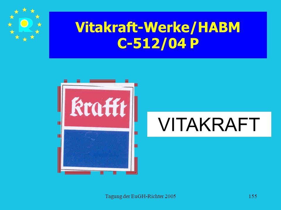 Tagung der EuGH-Richter 2005155 Vitakraft-Werke/HABM C-512/04 P VITAKRAFT