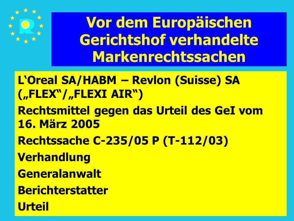"""Tagung der EuGH-Richter 2005156 Vor dem Europäischen Gerichtshof verhandelte Markenrechtssachen L'Oreal SA/HABM – Revlon (Suisse) SA (""""FLEX /""""FLEXI AIR ) Rechtsmittel gegen das Urteil des GeI vom 16."""