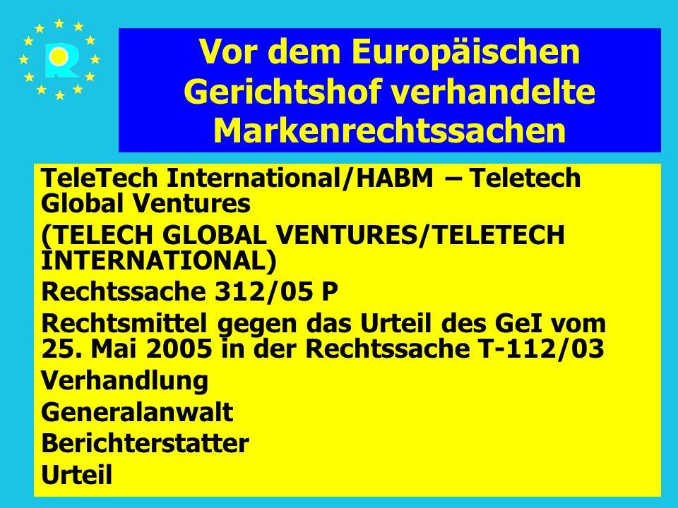Tagung der EuGH-Richter 2005158 Vor dem Europäischen Gerichtshof verhandelte Markenrechtssachen TeleTech International/HABM – Teletech Global Ventures (TELECH GLOBAL VENTURES/TELETECH INTERNATIONAL) Rechtssache 312/05 P Rechtsmittel gegen das Urteil des GeI vom 25.