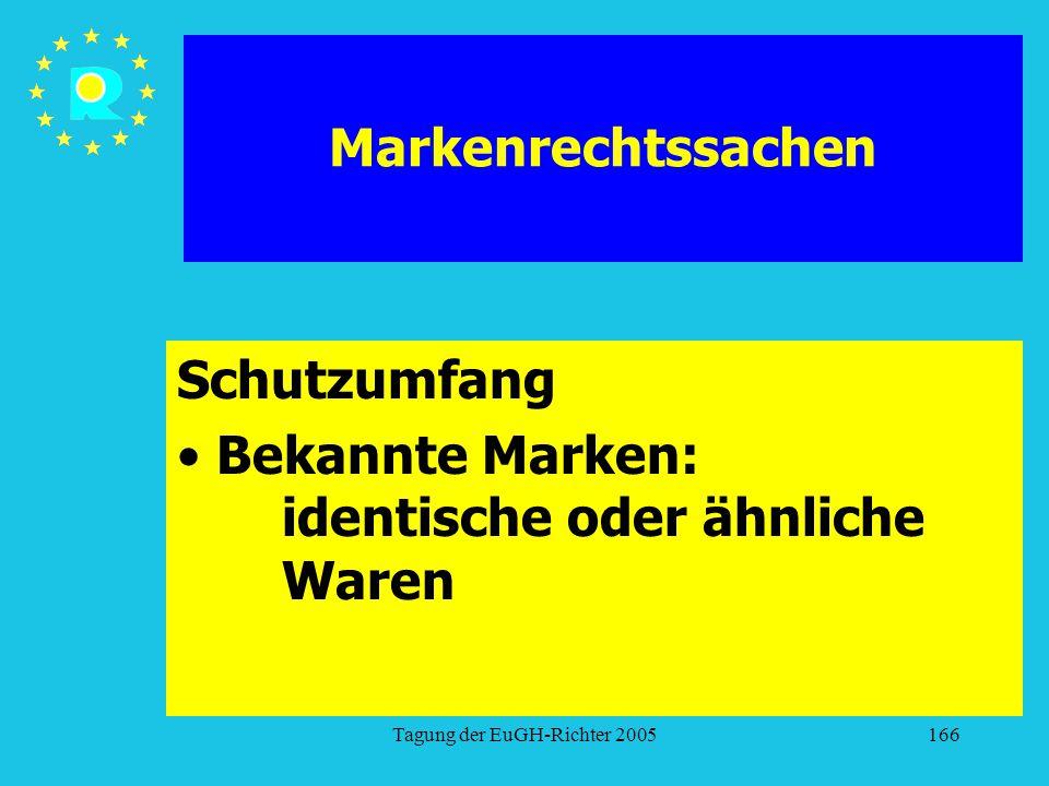 Tagung der EuGH-Richter 2005166 Markenrechtssachen Schutzumfang Bekannte Marken: identische oder ähnliche Waren
