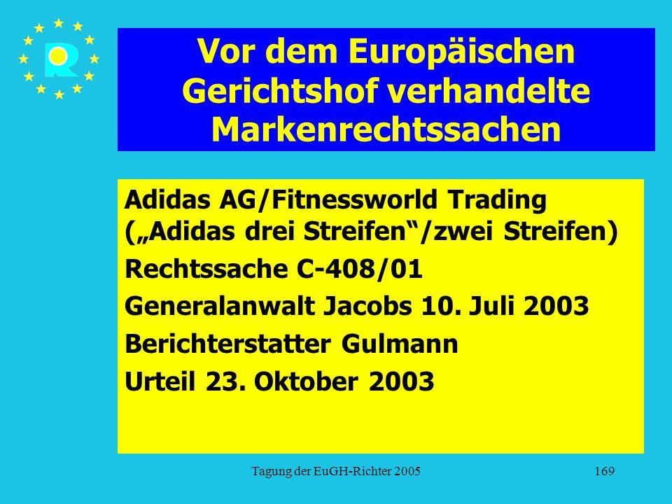 """Tagung der EuGH-Richter 2005169 Vor dem Europäischen Gerichtshof verhandelte Markenrechtssachen Adidas AG/Fitnessworld Trading (""""Adidas drei Streifen /zwei Streifen) Rechtssache C-408/01 Generalanwalt Jacobs 10."""