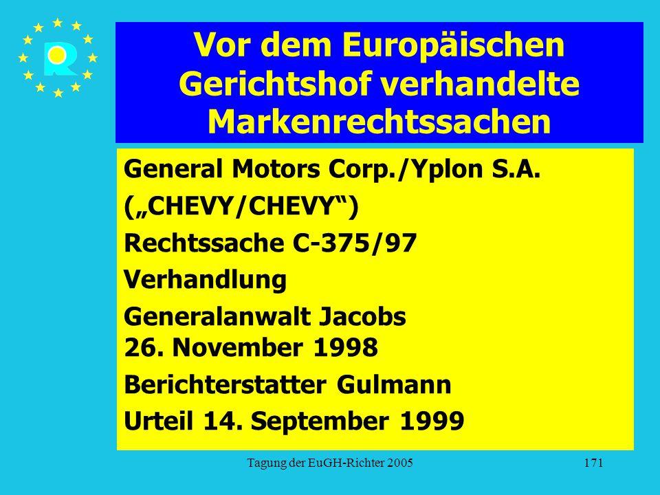 """Tagung der EuGH-Richter 2005171 Vor dem Europäischen Gerichtshof verhandelte Markenrechtssachen General Motors Corp./Yplon S.A. (""""CHEVY/CHEVY"""") Rechts"""