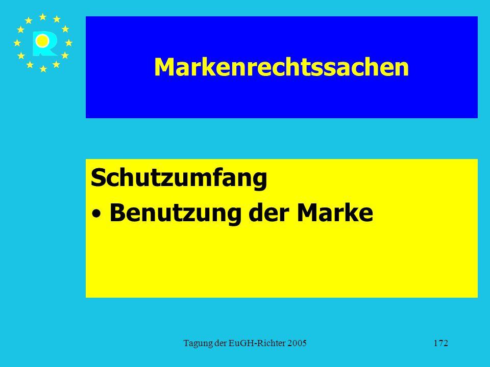 Tagung der EuGH-Richter 2005172 Markenrechtssachen Schutzumfang Benutzung der Marke