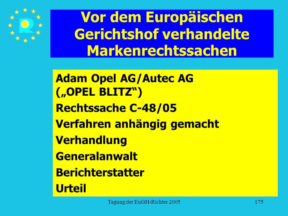 """Tagung der EuGH-Richter 2005175 Vor dem Europäischen Gerichtshof verhandelte Markenrechtssachen Adam Opel AG/Autec AG (""""OPEL BLITZ ) Rechtssache C-48/05 Verfahren anhängig gemacht Verhandlung Generalanwalt Berichterstatter Urteil"""