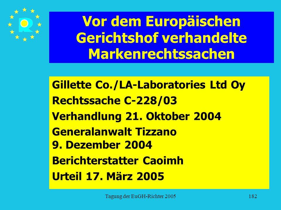 Tagung der EuGH-Richter 2005182 Vor dem Europäischen Gerichtshof verhandelte Markenrechtssachen Gillette Co./LA-Laboratories Ltd Oy Rechtssache C-228/03 Verhandlung 21.