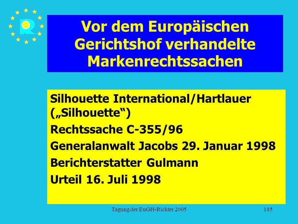 """Tagung der EuGH-Richter 2005185 Vor dem Europäischen Gerichtshof verhandelte Markenrechtssachen Silhouette International/Hartlauer (""""Silhouette ) Rechtssache C-355/96 Generalanwalt Jacobs 29."""