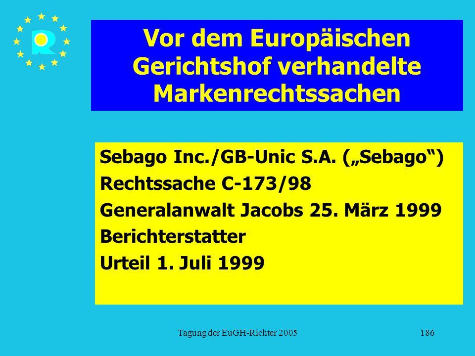 """Tagung der EuGH-Richter 2005186 Vor dem Europäischen Gerichtshof verhandelte Markenrechtssachen Sebago Inc./GB-Unic S.A. (""""Sebago"""") Rechtssache C-173/"""