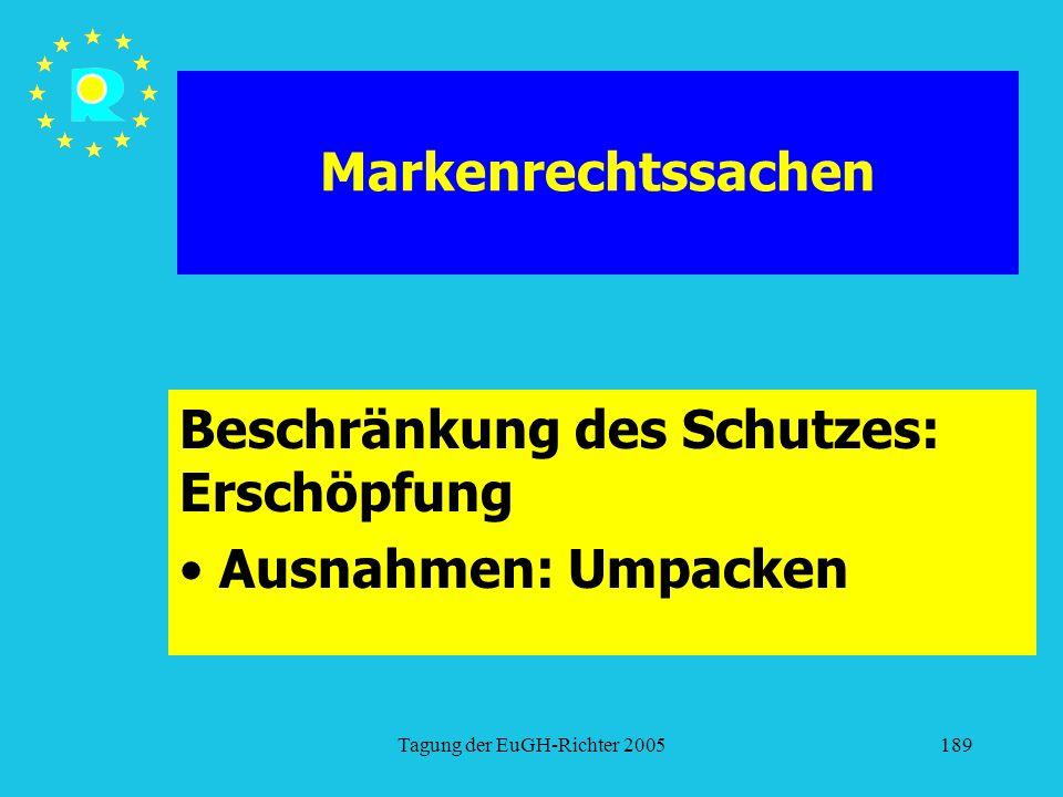 Tagung der EuGH-Richter 2005189 Markenrechtssachen Beschränkung des Schutzes: Erschöpfung Ausnahmen: Umpacken