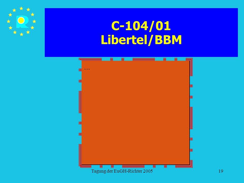 Tagung der EuGH-Richter 200519 C-104/01 Libertel/BBM