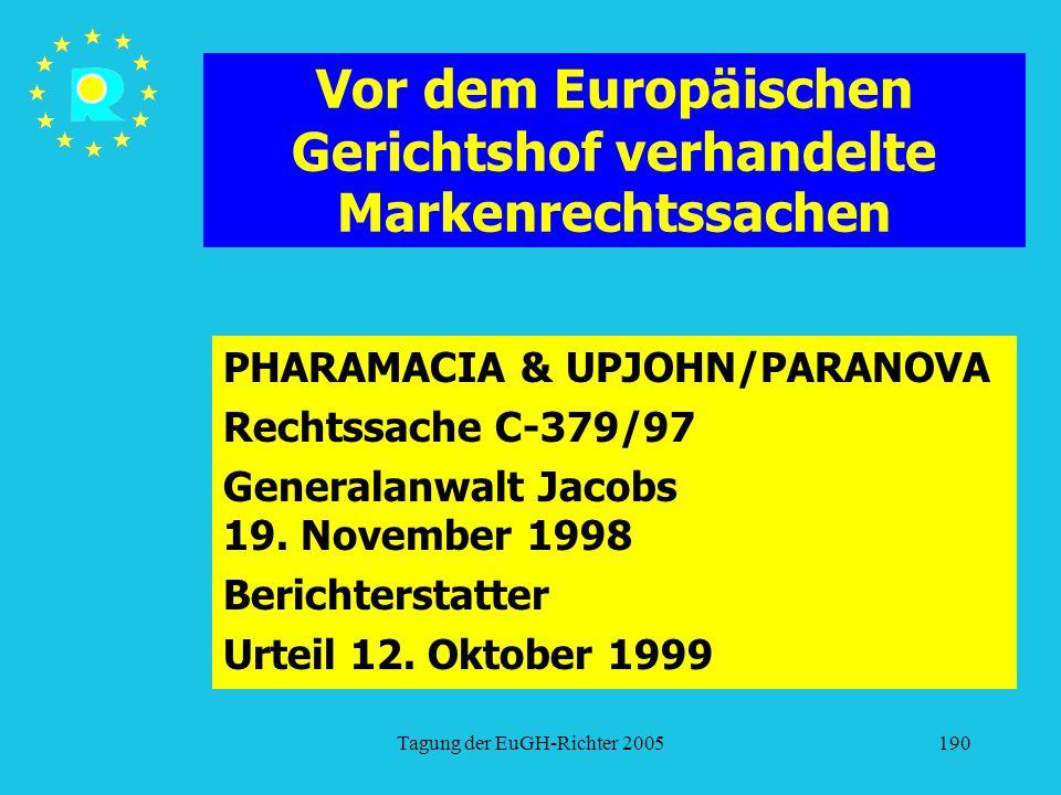 Tagung der EuGH-Richter 2005190 Vor dem Europäischen Gerichtshof verhandelte Markenrechtssachen PHARAMACIA & UPJOHN/PARANOVA Rechtssache C-379/97 Generalanwalt Jacobs 19.