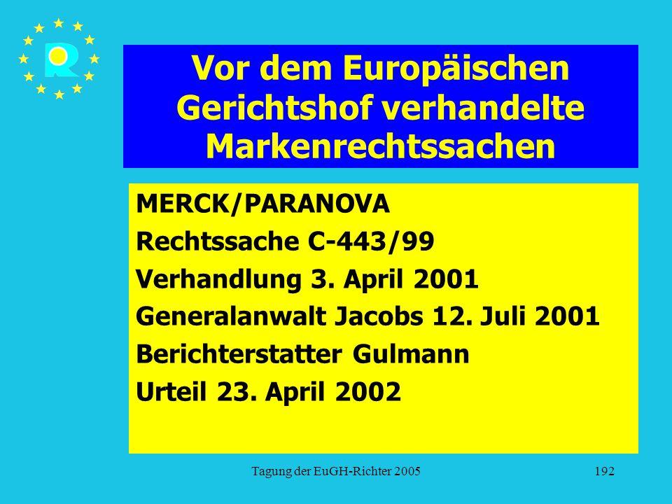Tagung der EuGH-Richter 2005192 Vor dem Europäischen Gerichtshof verhandelte Markenrechtssachen MERCK/PARANOVA Rechtssache C-443/99 Verhandlung 3. Apr