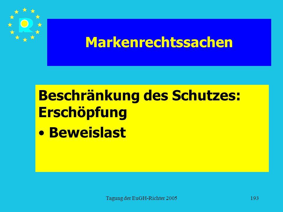Tagung der EuGH-Richter 2005193 Markenrechtssachen Beschränkung des Schutzes: Erschöpfung Beweislast