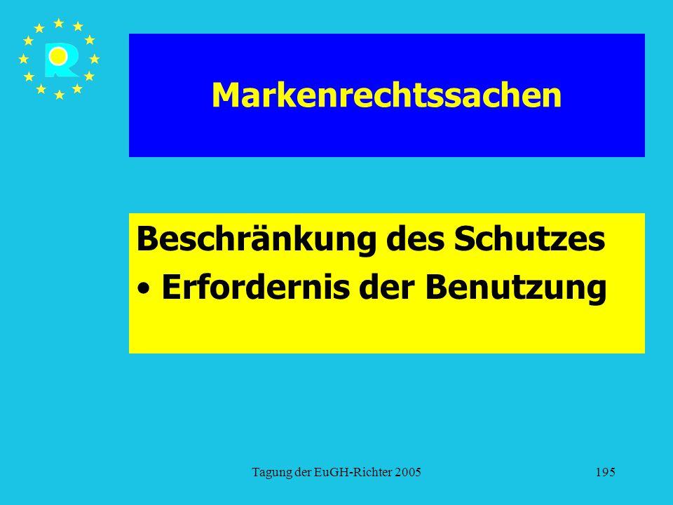 Tagung der EuGH-Richter 2005195 Markenrechtssachen Beschränkung des Schutzes Erfordernis der Benutzung