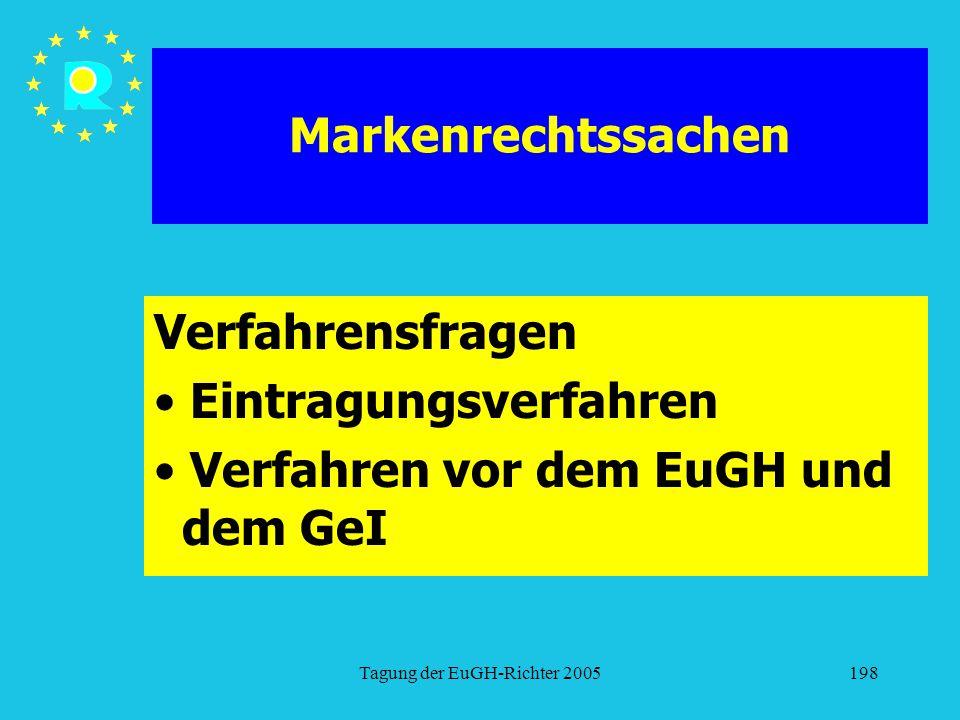 Tagung der EuGH-Richter 2005198 Markenrechtssachen Verfahrensfragen Eintragungsverfahren Verfahren vor dem EuGH und dem GeI