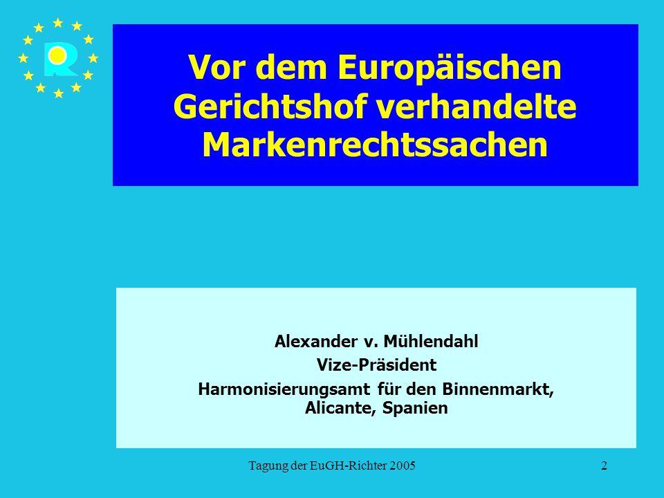 Tagung der EuGH-Richter 20052 Vor dem Europäischen Gerichtshof verhandelte Markenrechtssachen Alexander v. Mühlendahl Vize-Präsident Harmonisierungsam