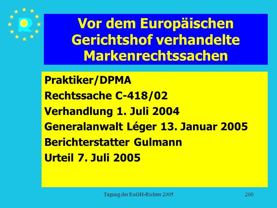 Tagung der EuGH-Richter 2005200 Vor dem Europäischen Gerichtshof verhandelte Markenrechtssachen Praktiker/DPMA Rechtssache C-418/02 Verhandlung 1. Jul