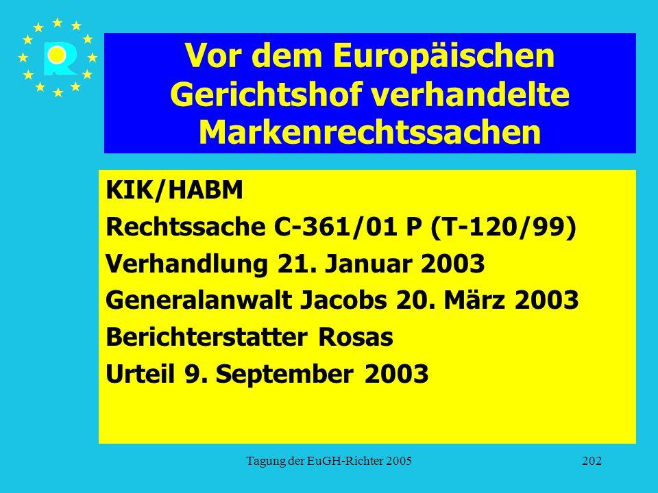 Tagung der EuGH-Richter 2005202 Vor dem Europäischen Gerichtshof verhandelte Markenrechtssachen KIK/HABM Rechtssache C-361/01 P (T-120/99) Verhandlung