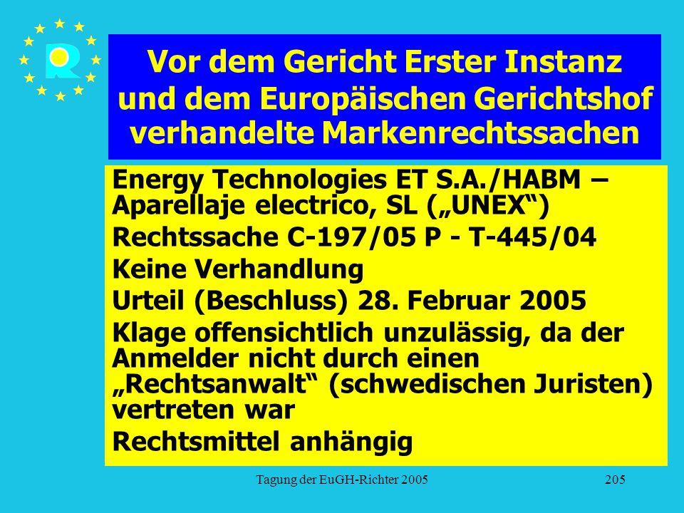 """Tagung der EuGH-Richter 2005205 Vor dem Gericht Erster Instanz und dem Europäischen Gerichtshof verhandelte Markenrechtssachen Energy Technologies ET S.A./HABM – Aparellaje electrico, SL (""""UNEX ) Rechtssache C-197/05 P - T-445/04 Keine Verhandlung Urteil (Beschluss) 28."""