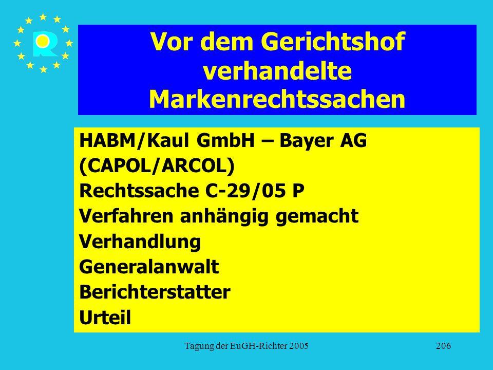 Tagung der EuGH-Richter 2005206 Vor dem Gerichtshof verhandelte Markenrechtssachen HABM/Kaul GmbH – Bayer AG (CAPOL/ARCOL) Rechtssache C-29/05 P Verfahren anhängig gemacht Verhandlung Generalanwalt Berichterstatter Urteil