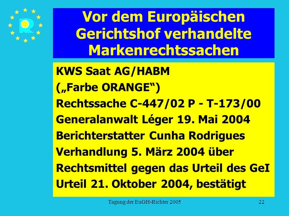 """Tagung der EuGH-Richter 200522 Vor dem Europäischen Gerichtshof verhandelte Markenrechtssachen KWS Saat AG/HABM (""""Farbe ORANGE ) Rechtssache C-447/02 P - T-173/00 Generalanwalt Léger 19."""