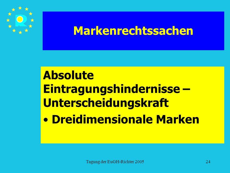 Tagung der EuGH-Richter 200524 Markenrechtssachen Absolute Eintragungshindernisse – Unterscheidungskraft Dreidimensionale Marken