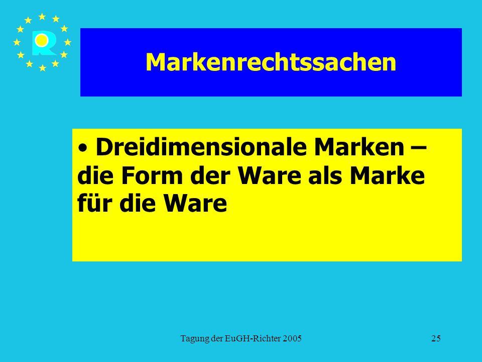 Tagung der EuGH-Richter 200525 Markenrechtssachen Dreidimensionale Marken – die Form der Ware als Marke für die Ware