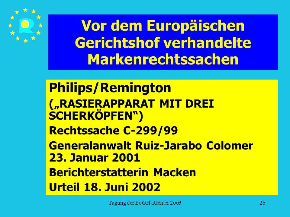 """Tagung der EuGH-Richter 200526 Vor dem Europäischen Gerichtshof verhandelte Markenrechtssachen Philips/Remington (""""RASIERAPPARAT MIT DREI SCHERKÖPFEN ) Rechtssache C-299/99 Generalanwalt Ruiz-Jarabo Colomer 23."""