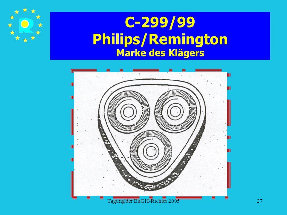 Tagung der EuGH-Richter 200527 C-299/99 Philips/Remington Marke des Klägers