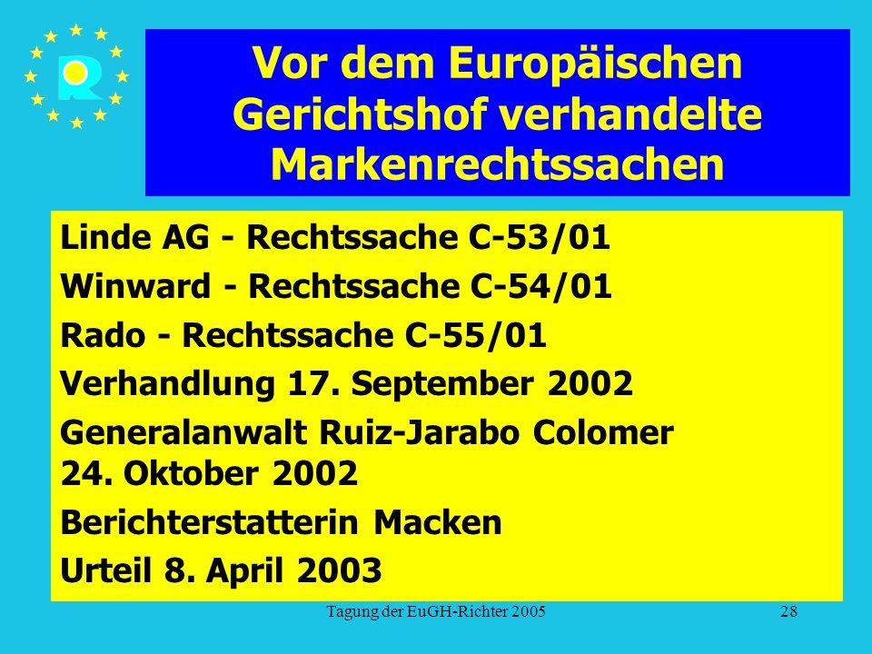Tagung der EuGH-Richter 200528 Vor dem Europäischen Gerichtshof verhandelte Markenrechtssachen Linde AG - Rechtssache C-53/01 Winward - Rechtssache C-54/01 Rado - Rechtssache C-55/01 Verhandlung 17.