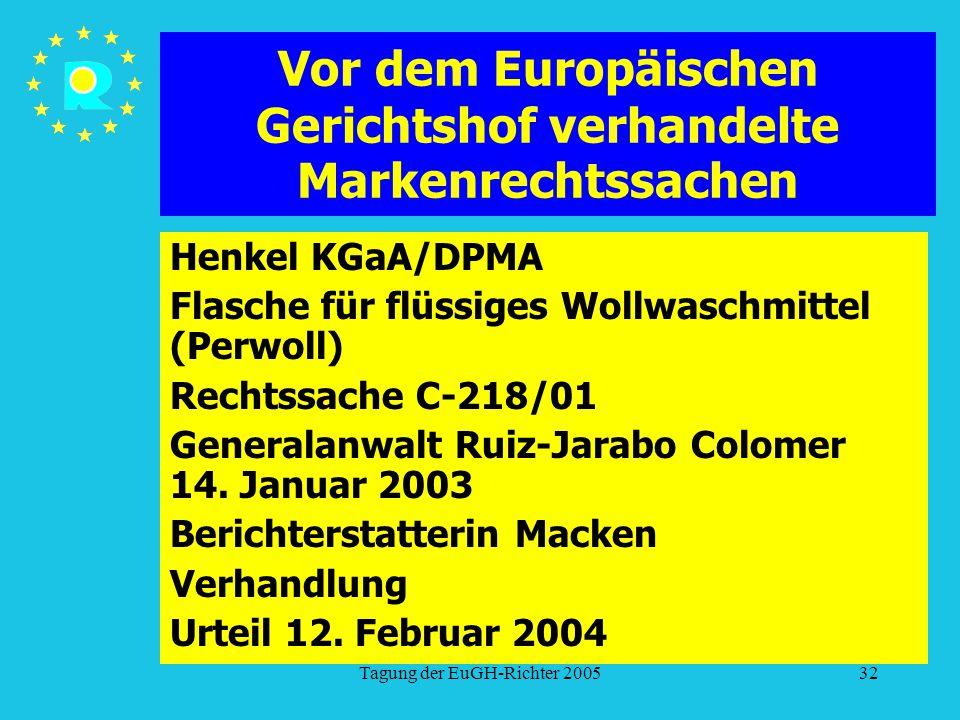 Tagung der EuGH-Richter 200532 Vor dem Europäischen Gerichtshof verhandelte Markenrechtssachen Henkel KGaA/DPMA Flasche für flüssiges Wollwaschmittel (Perwoll) Rechtssache C-218/01 Generalanwalt Ruiz-Jarabo Colomer 14.