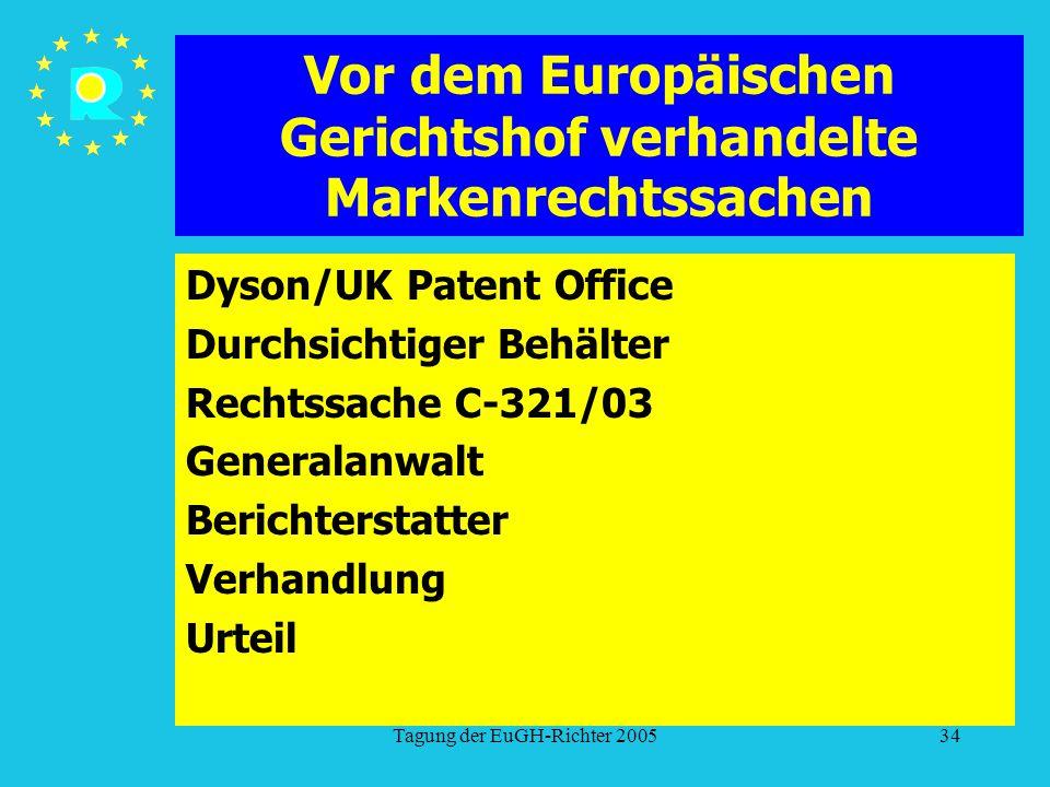 Tagung der EuGH-Richter 200534 Vor dem Europäischen Gerichtshof verhandelte Markenrechtssachen Dyson/UK Patent Office Durchsichtiger Behälter Rechtssache C-321/03 Generalanwalt Berichterstatter Verhandlung Urteil