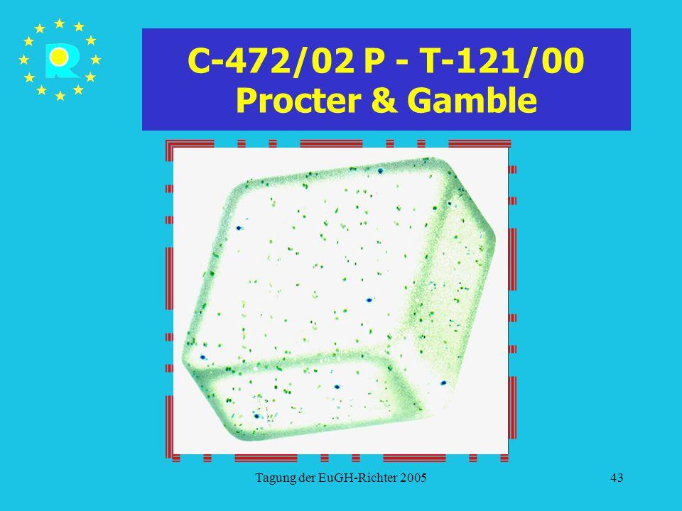 Tagung der EuGH-Richter 200543 C-472/02 P - T-121/00 Procter & Gamble