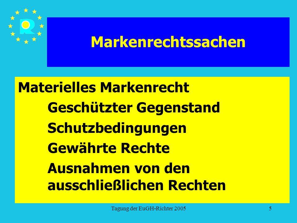 Tagung der EuGH-Richter 20055 Markenrechtssachen Materielles Markenrecht Geschützter Gegenstand Schutzbedingungen Gewährte Rechte Ausnahmen von den au