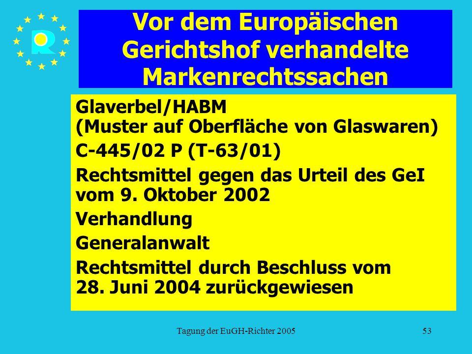 Tagung der EuGH-Richter 200553 Vor dem Europäischen Gerichtshof verhandelte Markenrechtssachen Glaverbel/HABM (Muster auf Oberfläche von Glaswaren) C-445/02 P (T-63/01) Rechtsmittel gegen das Urteil des GeI vom 9.