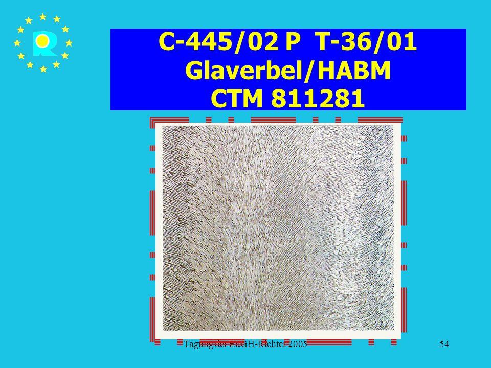 Tagung der EuGH-Richter 200554 C-445/02 P T-36/01 Glaverbel/HABM CTM 811281