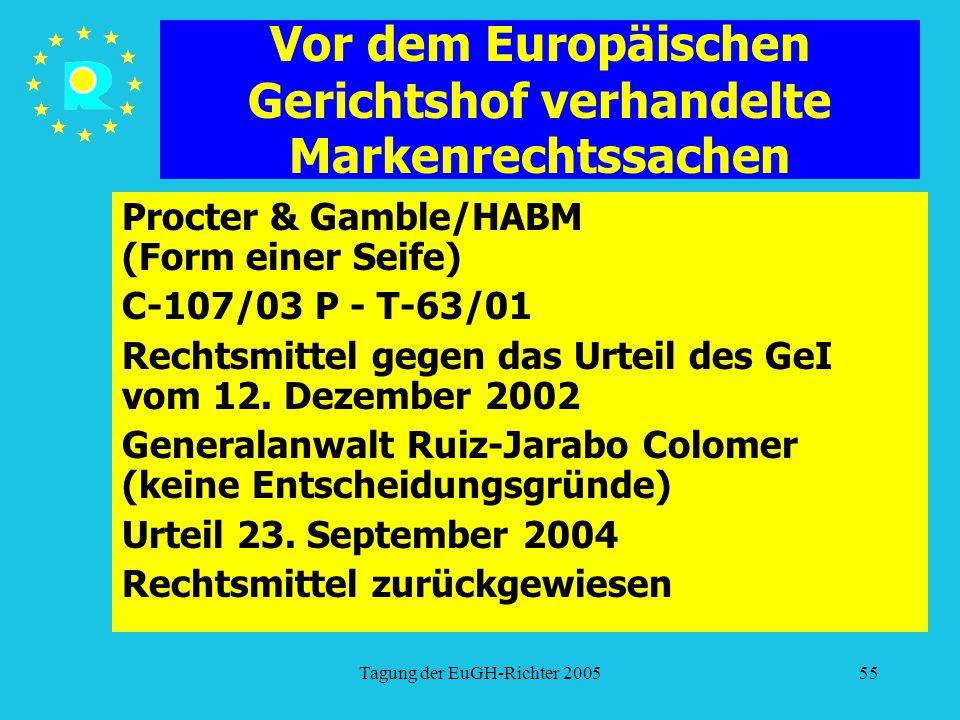 Tagung der EuGH-Richter 200555 Vor dem Europäischen Gerichtshof verhandelte Markenrechtssachen Procter & Gamble/HABM (Form einer Seife) C-107/03 P - T-63/01 Rechtsmittel gegen das Urteil des GeI vom 12.