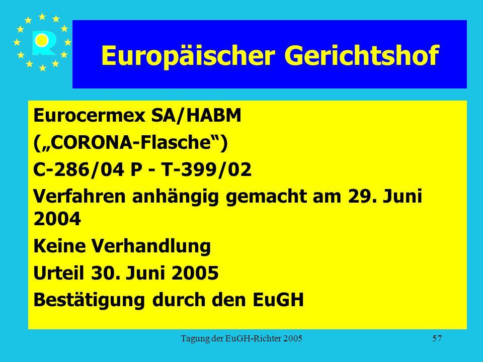 """Tagung der EuGH-Richter 200557 Europäischer Gerichtshof Eurocermex SA/HABM (""""CORONA-Flasche ) C-286/04 P - T-399/02 Verfahren anhängig gemacht am 29."""