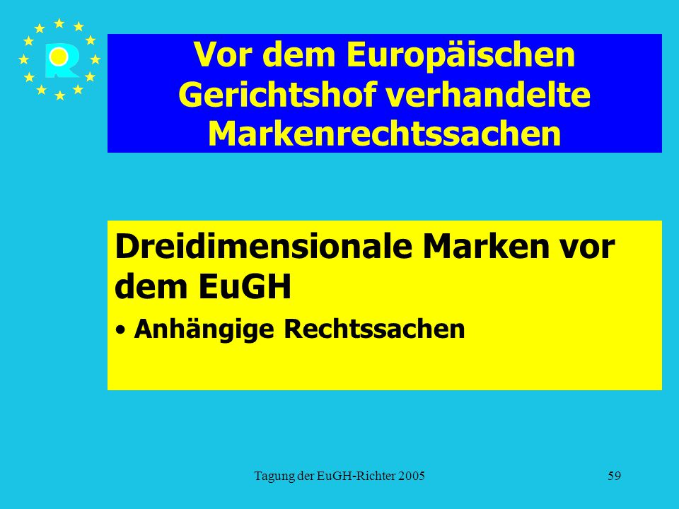 Tagung der EuGH-Richter 200559 Vor dem Europäischen Gerichtshof verhandelte Markenrechtssachen Dreidimensionale Marken vor dem EuGH Anhängige Rechtssachen