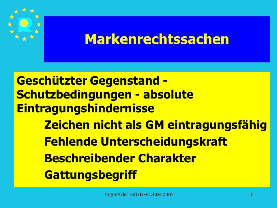 Tagung der EuGH-Richter 20056 Markenrechtssachen Geschützter Gegenstand - Schutzbedingungen - absolute Eintragungshindernisse Zeichen nicht als GM ein